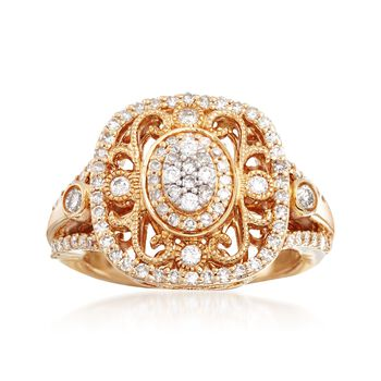 .75 ct. t.w. Diamond Vintage-Style Ring in 14kt Yellow Gold, , default