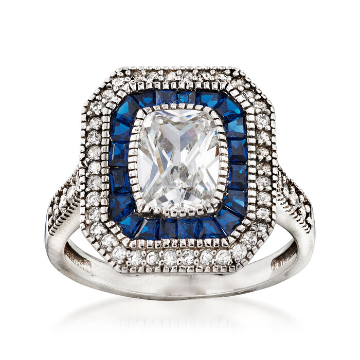 .80 ct. t.w. Simulated Blue Spinel and 2.21 ct. t.w. CZ Ring in Sterling Silver