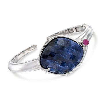 35.00 Carat Sapphire and .50 ct. t.w. Ruby Cuff Bracelet in Sterling Silver , , default
