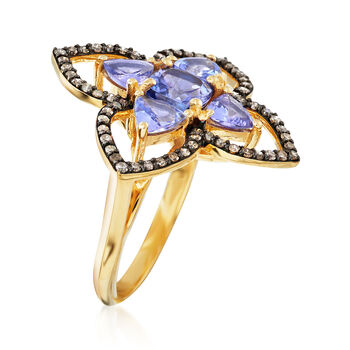 2.50 ct. t.w. Tanzanite and .57 ct. t.w. Champagne Diamond Ring in 18kt Yellow Gold Over Sterling Silver, , default