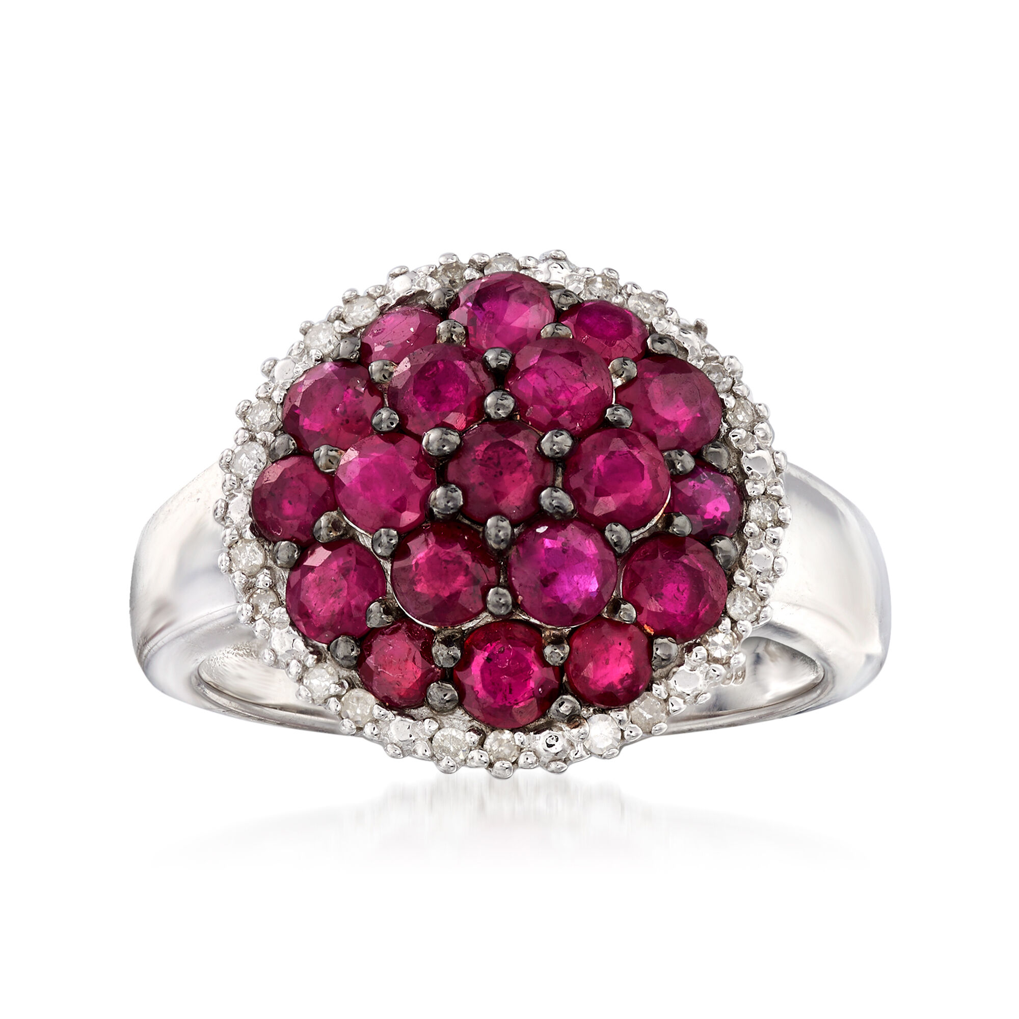 12 Ladies/' Sterling Silver 18KT Gold Vermeil Ruby /& CZ Rings in sizes 6 /& 7