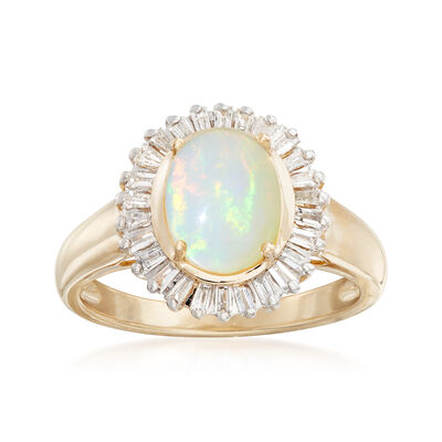Ethiopian Opal and .58 ct. t.w. Diamond Ring in 14kt Yellow Gold, , default