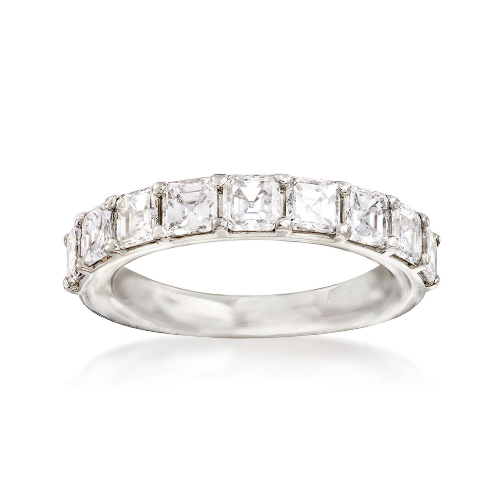 T W Cher Cut Diamond Wedding Band In Platinum Size 6