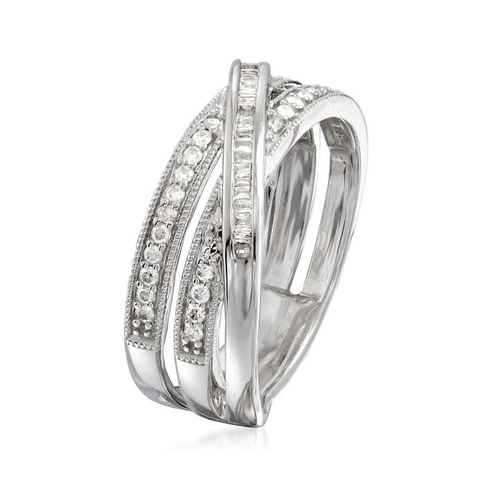 .33 ct. t.w. Round and Baguette Diamond Crisscross Highway Ring in Sterling Silver