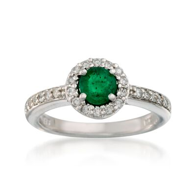.55 Carat Emerald and .30 ct. t.w. Diamond Ring in 14kt White Gold, , default