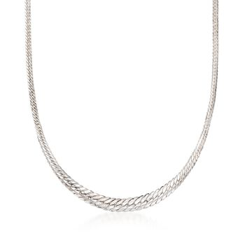 "Italian Sterling Silver Graduated Cuban-Link Necklace. 18"", , default"