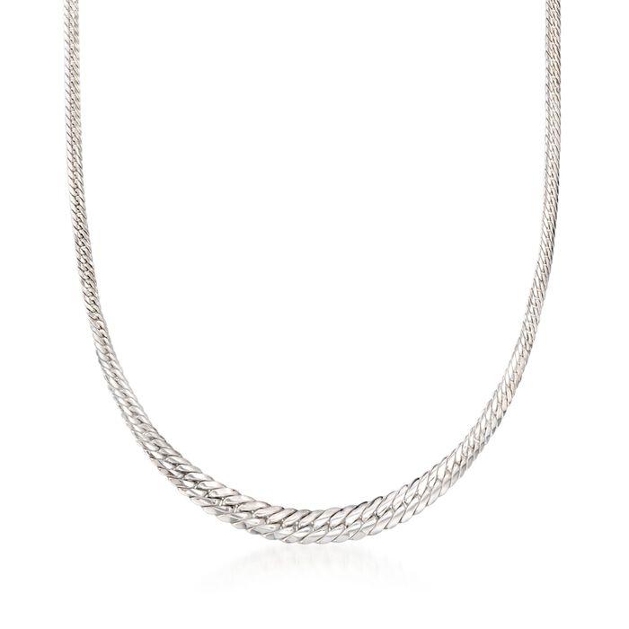 "Italian Sterling Silver Graduated Cuban-Link Necklace. 18"", , default"