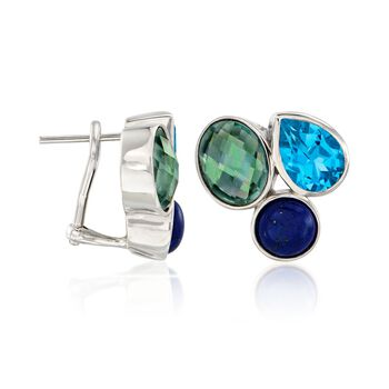 Lapis and 8.90 ct. t.w. Multicolored Topaz Earrings in Sterling Silver