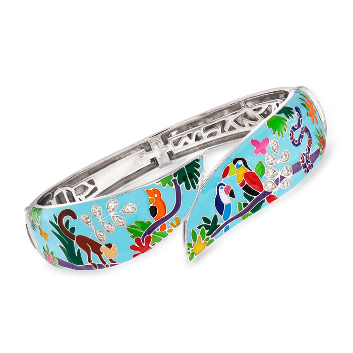 "Belle Etoile ""Tropical Rainforest"" Blue and Multicolored Enamel Bangle Bracelet with .15 ct. t.w. CZs in Sterling Silver"