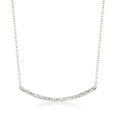 .18 Diamond Curved Bar Necklace in 14kt White Gold, , default