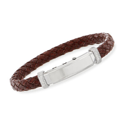 Phillip Gavriel Men's Brown Leather Bracelet With Sterling Silver, , default