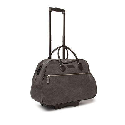 """Brouk & Co. """"Mid-City"""" Gray Waxed Canvas Rolling Bag"""