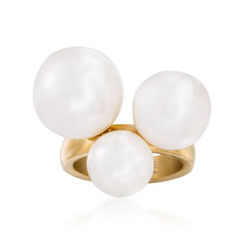 9.5-14mm Simulated Pearl Ring in Gold-Plated Stainless Steel, , default