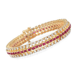 C. 1980 Vintage 6.30 ct. t.w. Diamond and 5.30 ct. t.w. Ruby Bracelet in 14kt Yellow Gold, , default
