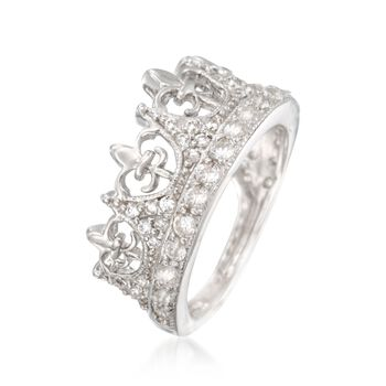 .89 ct. t.w. CZ Fleur-De-Lis Crown Ring in Sterling Silver, , default