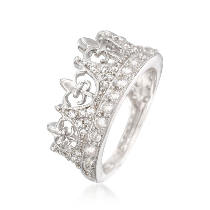.89 ct. t.w. CZ Fleur-De-Lis Crown Ring in Sterling Silver