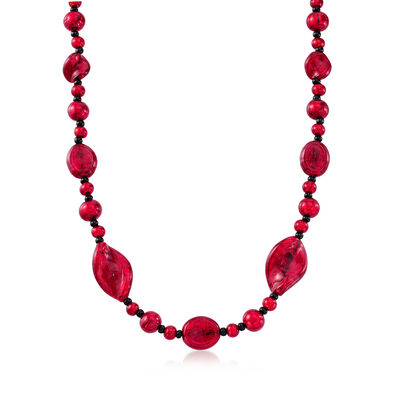 Italian 7-18mm Red Murano Glass Bead Necklace in 18kt Gold Over Sterling, , default