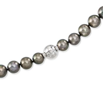 "Mikimoto 8.4-10.8mm A+ Black South Sea Pearl Necklace With 18kt White Gold and Diamond Accent. 17"", , default"