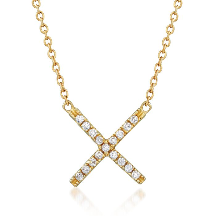 """.15 ct. t.w. CZ X Necklace in 18kt Gold Over Sterling. 18"""""""