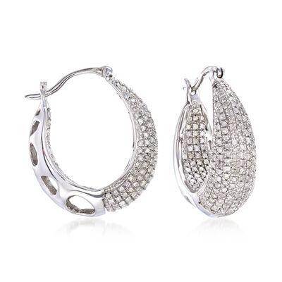 1.25 ct. t.w. Diamond Inside-Outside Hoop Earrings in Sterling Silver, , default