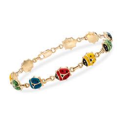 C. 2000 Vintage Multicolored Enamel Ladybug Bracelet in 14kt Yellow Gold, , default