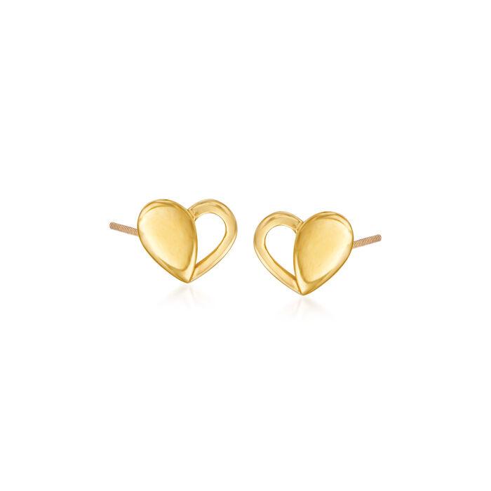 Child's 14kt Yellow Gold Heart Stud Earrings