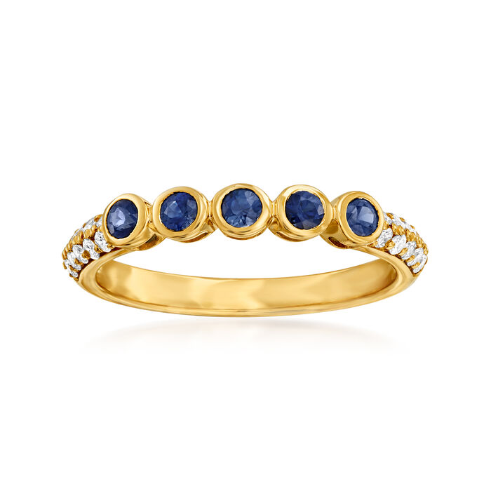 .30 ct. t.w. Sapphire Station Ring with .21 ct. t.w. Diamonds in 14kt Yellow Gold. Size 7, , default