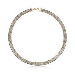 Italian 18kt Yellow Gold Greek Key Mesh Collar Necklace, , default