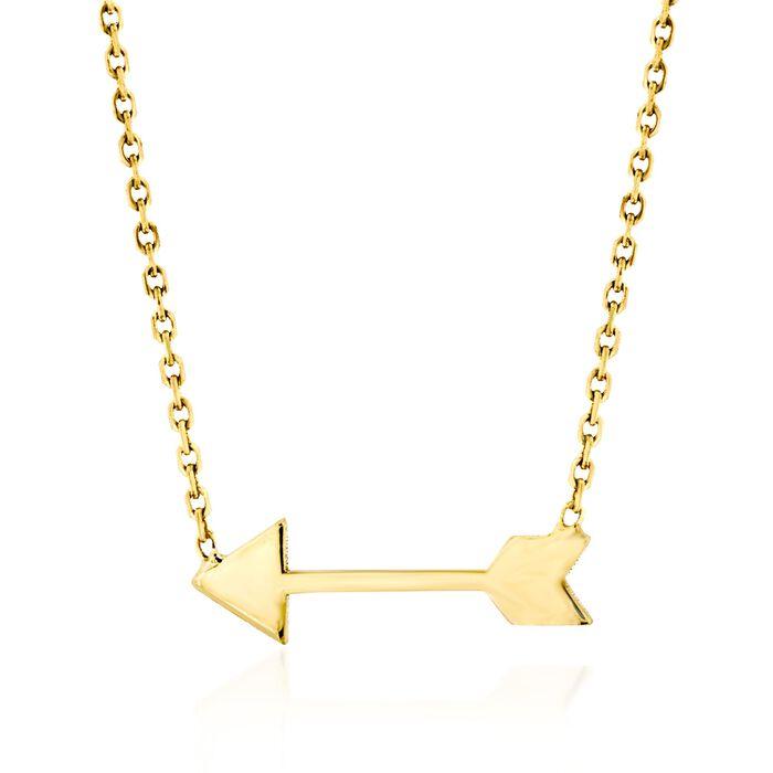 """14kt Yellow Gold Mini Sideways Arrow Necklace. 16"""""""