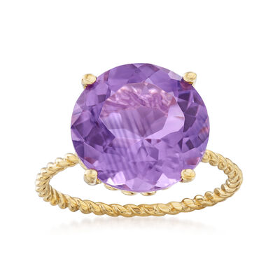 4.50 Carat Amethyst Rope Twist Ring in 14kt Yellow Gold, , default
