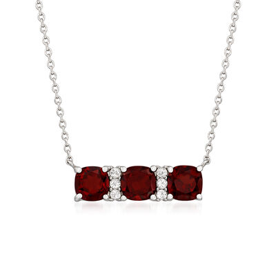 3.00 ct. t.w. Garnet and .17 ct. t.w. White Zircon Necklace in Sterling Silver