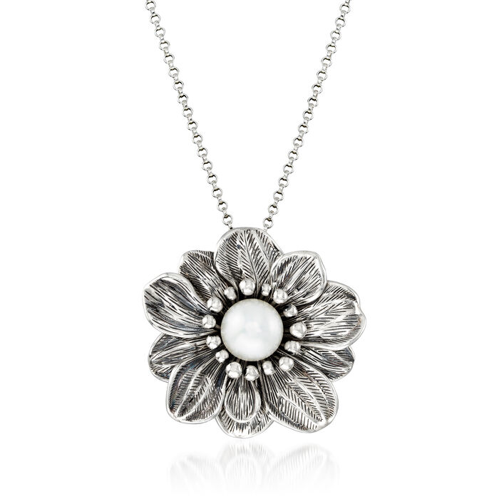 12mm Cultured Pearl Flower Pendant Necklace in Oxidized Sterling Silver. 18""