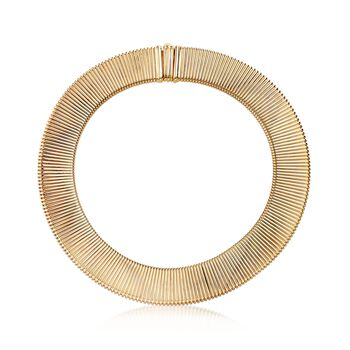 """C. 1980 Vintage 14kt Yellow Gold Ribbed Collar Necklace. 18"""", , default"""