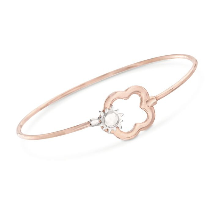 Italian Two-Tone Sterling Silver Cloud and Sun Bangle Bracelet