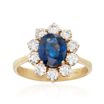 C. 1980 Vintage 1.90 Carat Sapphire and 1.20 ct. t.w. Diamond Ring in 18kt Yellow Gold. Size 7, , default