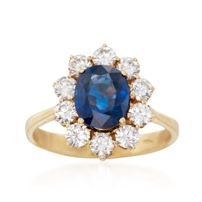 C. 1980 Vintage 1.90 Carat Sapphire and 1.20 ct. t.w. Diamond Ring in 18kt Yellow Gold, , default