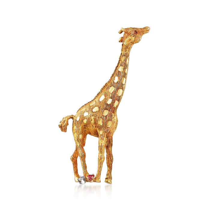 C. 1980 Vintage .10 Carat Diamond and .17 ct. t.w. Ruby Giraffe Pin in 18kt Yellow Gold, , default