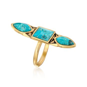 Turquoise Geometric Ring in 18kt Gold Over Sterling, , default