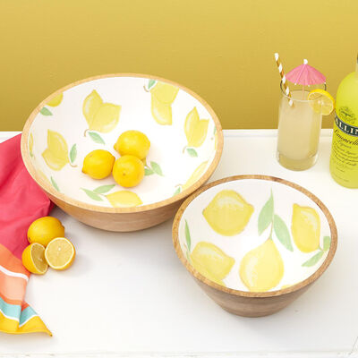 """When Life Gives You Lemons"" Set of Two Wooden Bowls, , default"