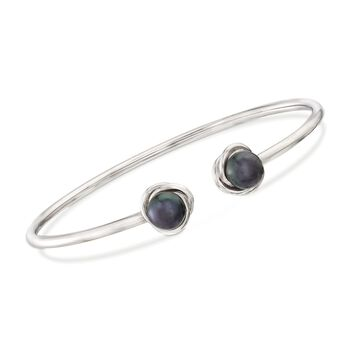 "7-8mm Black Cultured Pearl Knot Cuff Bracelet in Sterling Silver. 8"", , default"