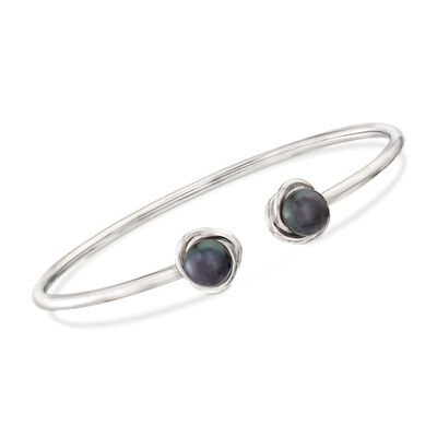7-8mm Black Cultured Pearl Knot Cuff Bracelet in Sterling Silver, , default