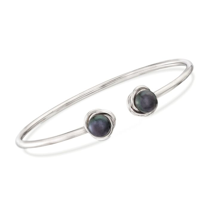 "7-8mm Black Cultured Pearl Knot Cuff Bracelet in Sterling Silver. 8"", , default"