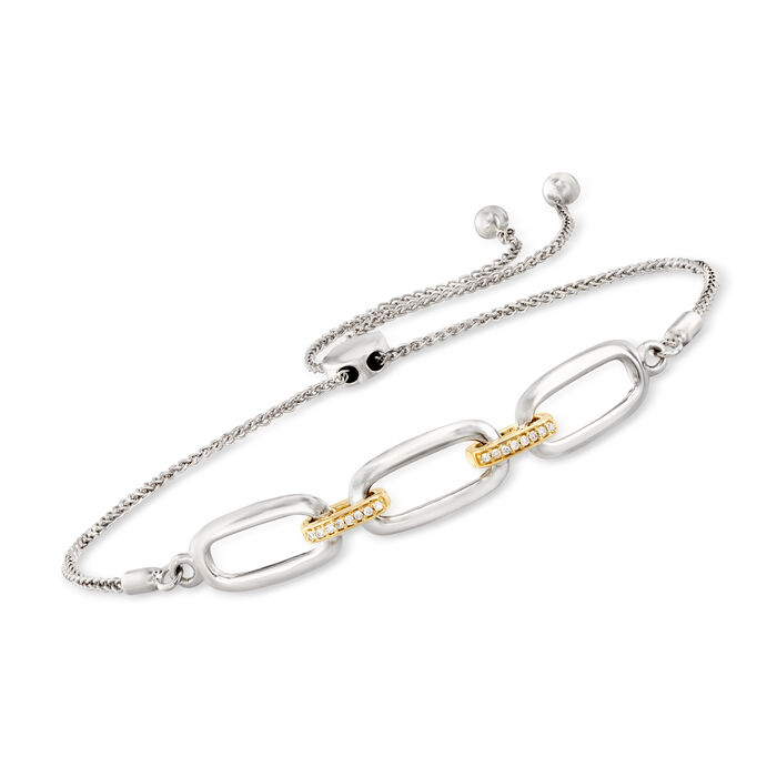 Sterling Silver and 14kt Yellow Gold Bolo Bracelet with Diamond Accents
