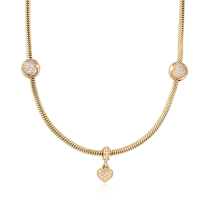 """C. 2010 Vintage Pandora 1.15 ct. t.w. CZ Heart Bead Necklace with Diamond Accents in 14kt Gold. 16.5"""", , default"""