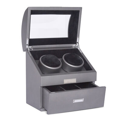 "Brouk & Co. ""Bradford"" Gunmetal Wooden Dual Watch Winder with Lid, , default"
