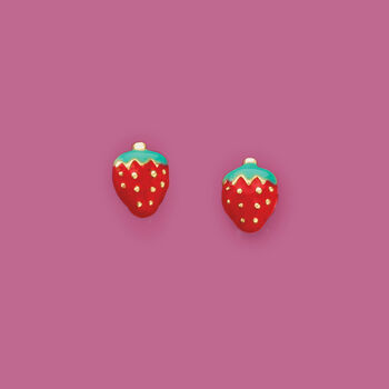 Child's Enamel Strawberry Stud Earrings in 14kt Yellow Gold, , default