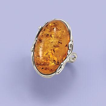 Orange Amber Ring in Sterling Silver, , default