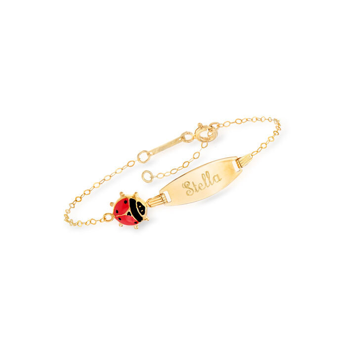 Child's Italian 18kt Yellow Gold Name ID Bracelet with Red and Black Enamel Ladybug