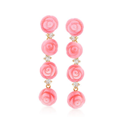 Pink Coral Rose and .70 ct. t.w. White Topaz Linear Earrings in 14kt Gold Over Sterling