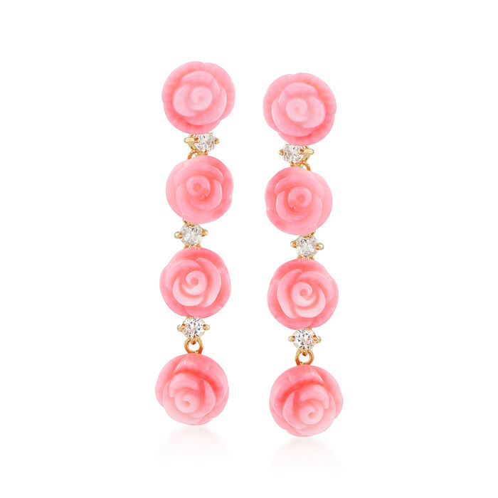 Pink Coral Rose and .70 ct. t.w. White Topaz Linear Earrings in 14kt Gold Over Sterling. 1 1/2""